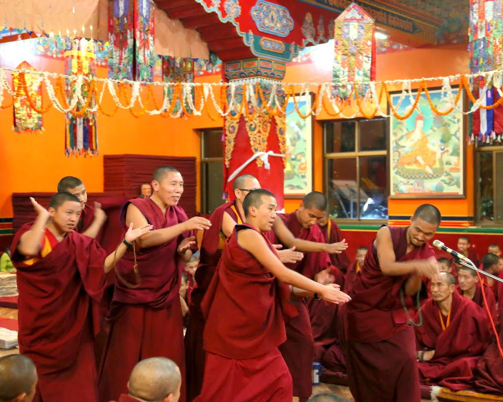 Kopan monks showing their debating moves to Lama Zopa Rinpoche, Kopan Monastery, Nepal, December 2014. Photo by Ven Thubten Kunsang.