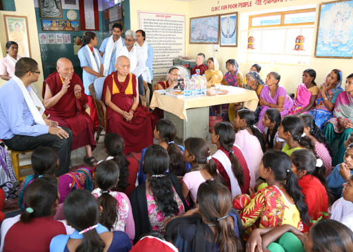Lama Zopa Rinpoche with Baling Lama during a visit to the Shakyamuni Buddha Community Health Care Center at Root Institute, Bodghaya, India, February 2015. Photo by Ven. Thubten Kunsang.