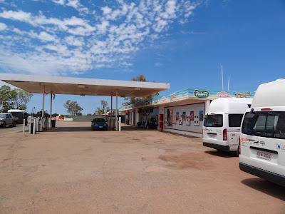 "There was only one town in the 450km I drove today so they have these ""Road houses"" every 100km or so where you can get food / petrol. This is the Billabong Road House"