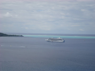 The Pacific Princess from a lookout point
