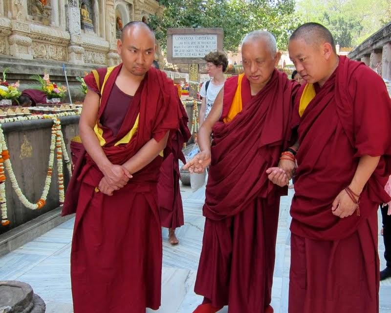 On the Day of Miracle, Chotrul Duchen, Lama Zopa Rinpoch circumambulated the Mahabodhi Stupa while reciting LamaTsongkhapa'sLekshayNyingpo, Bodhgaya, India, March 2014. Photo by Ven. Sarah Thresher.