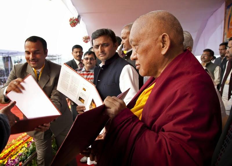 Uttar Pradesh Chief Minister Akhilesh Yadav with Lama Zopa Rinpoche at ceremony for Maitreya Project, Kushinagar, India, December 13, 2013. Photo by Andy Melnic.