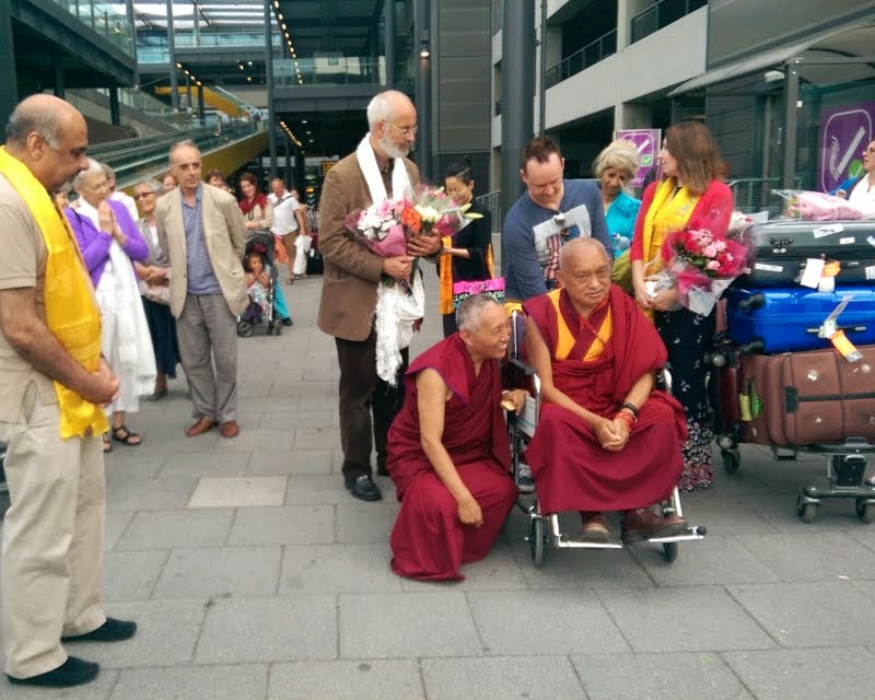 Lama Zopa Rinpoche arriving in UK, June 30, 2014. Photo by Ven. Roger Kunsang.