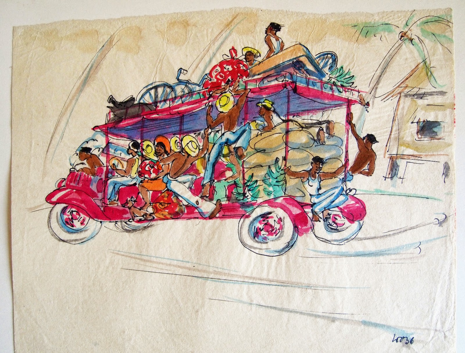 Tahitian Taxi, watercolor and pencil, 1936, family-owned