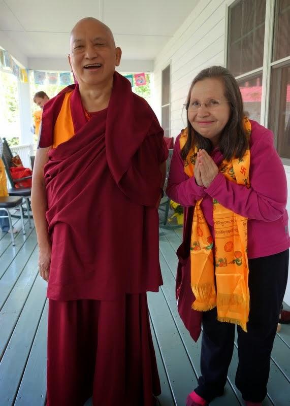 Lama Zopa Rinpoche with Mayra Rocha Sandoval, Black Mountain,  North Carolina, May 2014. Photo by Ven. Roger Kunsang.