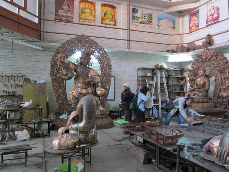 Workshop that is making the Padmasambhava statues for Lawudo