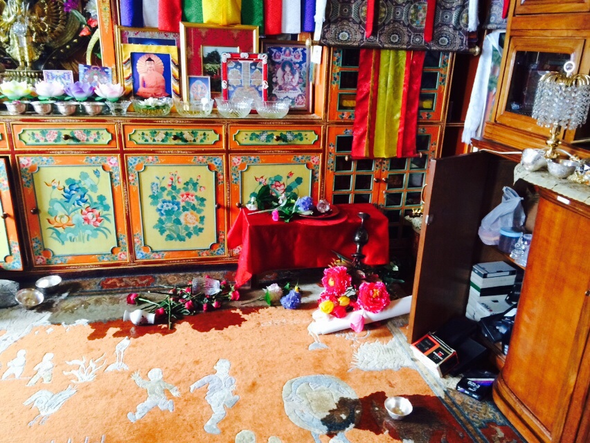 Spilled water bowls in Lama Zopa Rinpoche's room, Kopan Monastery, Nepal, April 25, 2015. Photo by Ven. Sangpo Sherpa.