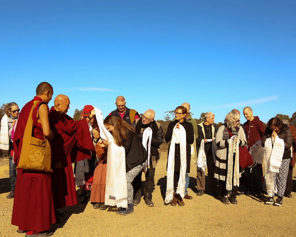 Offering khatas to Lama Zopa Rinpoche the day before the start of CPMT 2014, Great Stupa of Universal Compassion, Australia, September 12, 2014. Photo by Ven. Thubten Kunsang.
