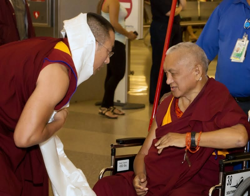 Geshe Sangpo, Kadampa Center assistant teacher, welcoming Lama Zopa Rinpoche, North Carolina, US, April 30, 2014. Photo by David Strevel.