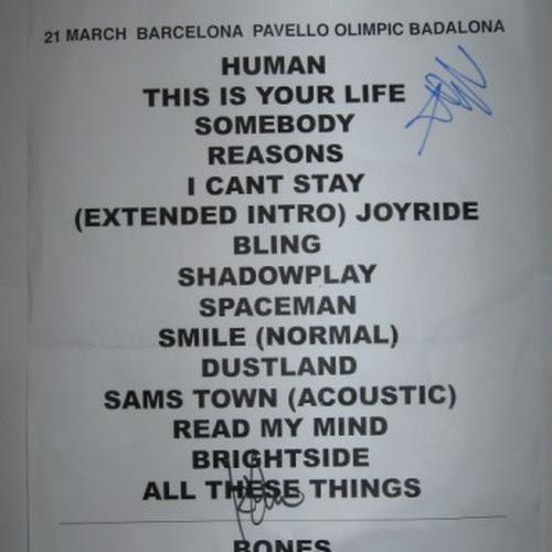 Setlist (autografata da Mark e Ronnie)