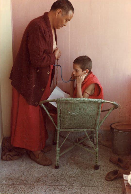 """Dr."" Wangchuck Meston listening to Lama Yeshe's heart"