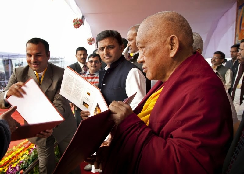 Uttar Pradesh Chief Minister Akhilesh Yadav with Lama Zopa Rinpoche at ceremony for Maitreya Project, Kushinagar, India, December 13, 2013. Photo by Andy Melnic.