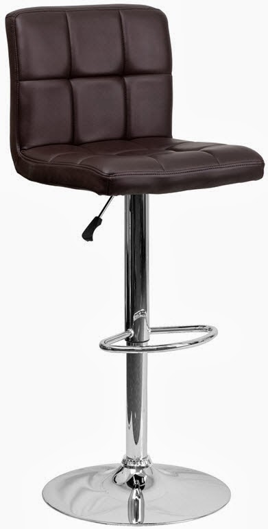 FLASH DS-810-MOD-BRN-GG CONTEMPORARY BROWN QUILTED VINYL ADJUSTABLE HEIGHT BAR STOOL WITH CHROME BASE