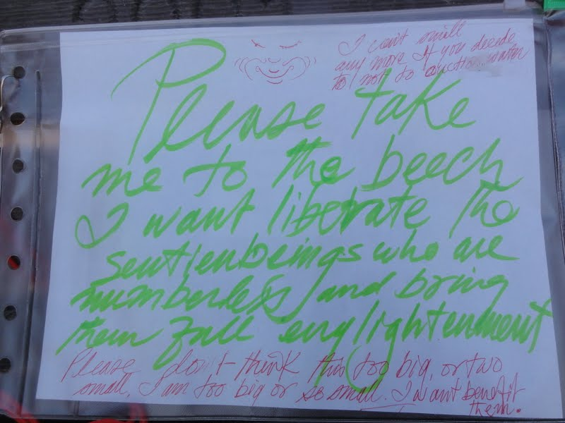 Sign that Rinpoche made that hangs on mantra board used to bless the sentient beings in the ocean