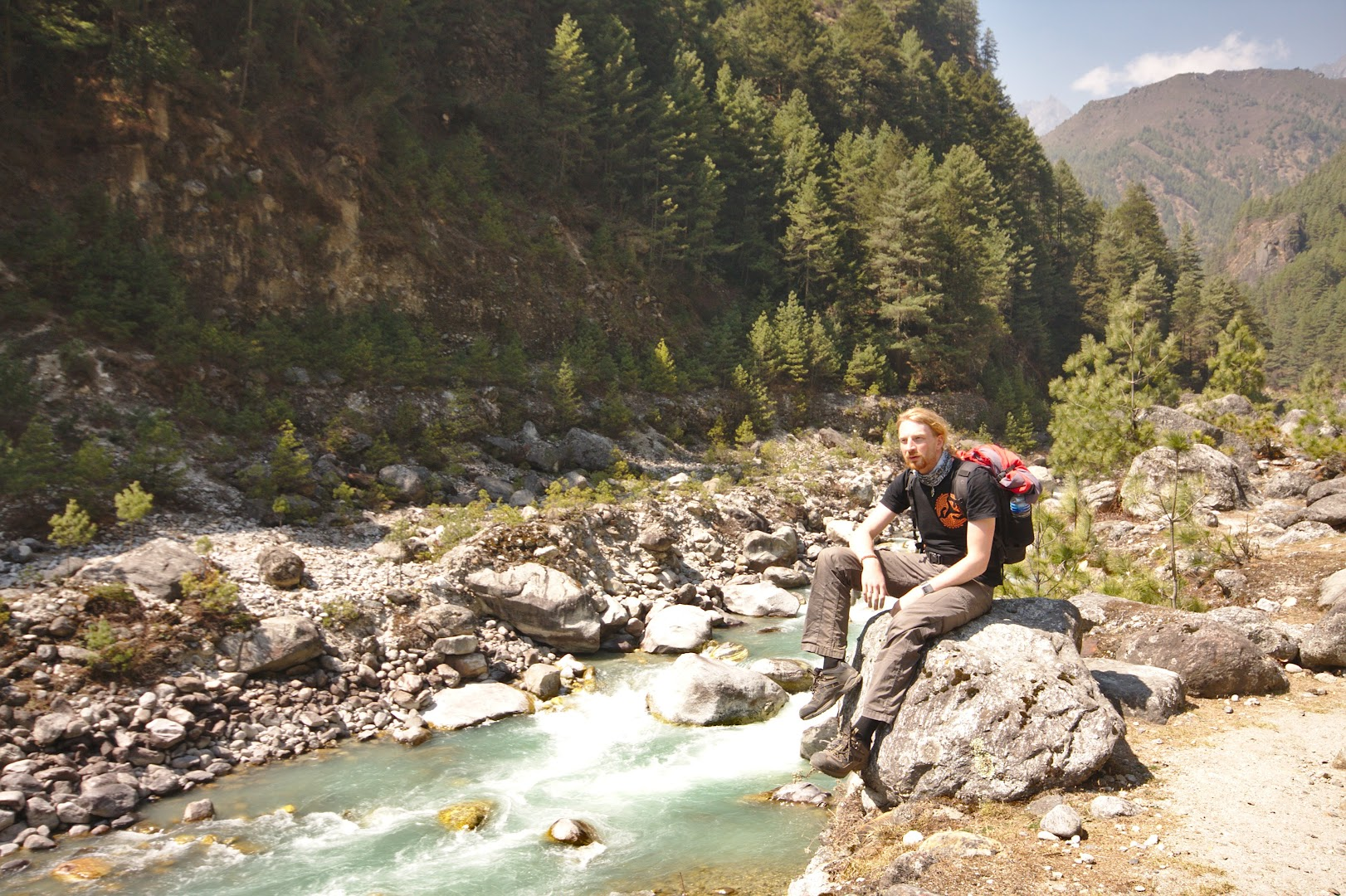 Resting on the Everest trail
