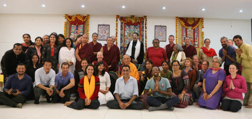 After public teaching in Bangalore, India, January 2015. Photo by Ven. Thubten Kunsang.