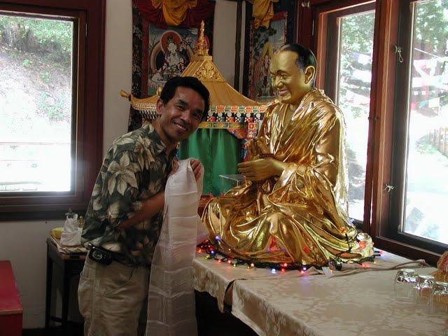Gelek with Lama Yeshe statue at Vajrapani Institute, California, USA