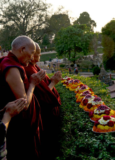 Lama Zopa Rinpoche and Baling Lama (the attendant of Khunu Lama Rinpoche) at Mahabodhi Stupa, Bodhgaya, India, February 2015. Photo by Andy Melnic.