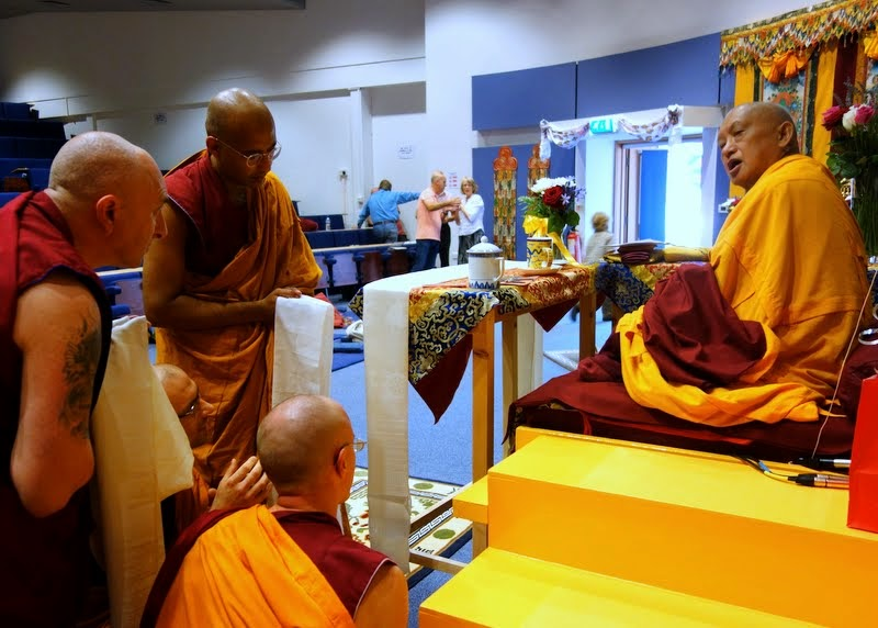 Lama Zopa Rinpoche during event organized by Jamyang Buddhist Centre Leeds, Leeds, UK, July 2014. Photo by Ven. Roger Kunsang.