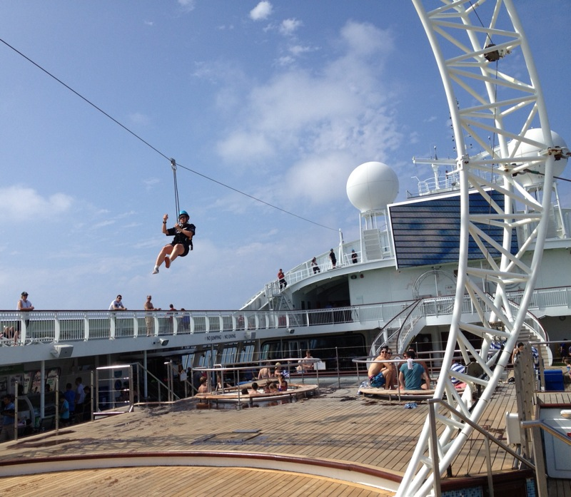 The crew trying out the flying fox. First time I had seen it used on the cruise