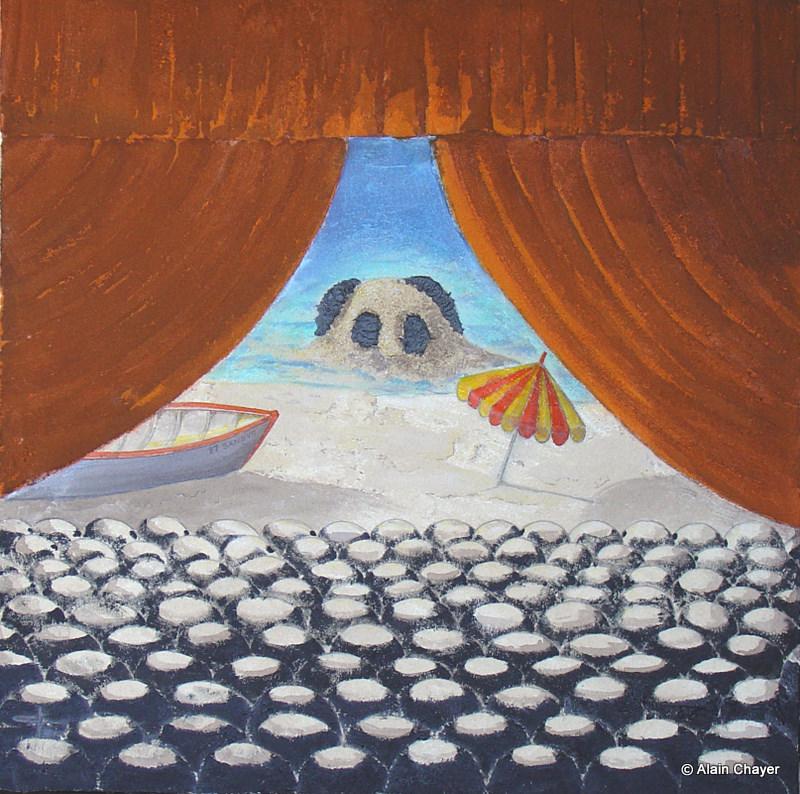 180 - Beach Theater - 2007 80 x 80 - Technique mixte sur sable sur toile