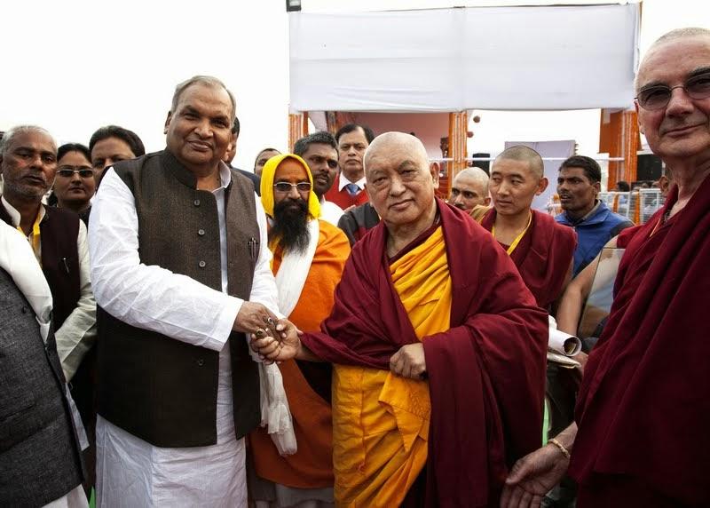 Lama Zopa Rinpoche after ceremony, Kushinagar, India, December 13, 2013. Photo by Andy Melnic.