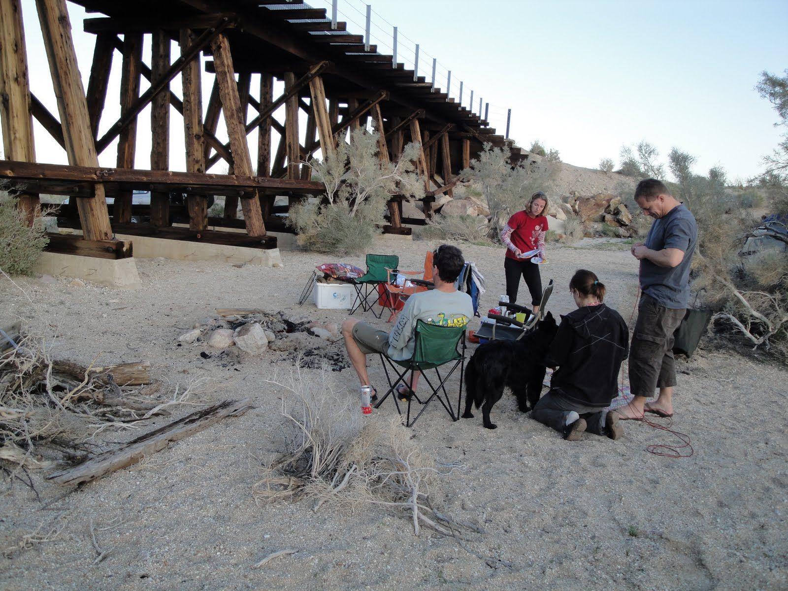 Our campsite near a small trestle at Dos Cabezas