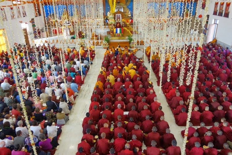 Long life puja for Lama Zopa Rinpoche, Drati Khangsten, Sera Je Monastic University, India, December 22, 2013. Photo by Ven. Roger Kunsang.