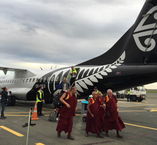 Lama Zopa Rinpoche after landing at Nelson on New Zealand's South Island, May 2015. Photo by Ven. Roger Kunsang.