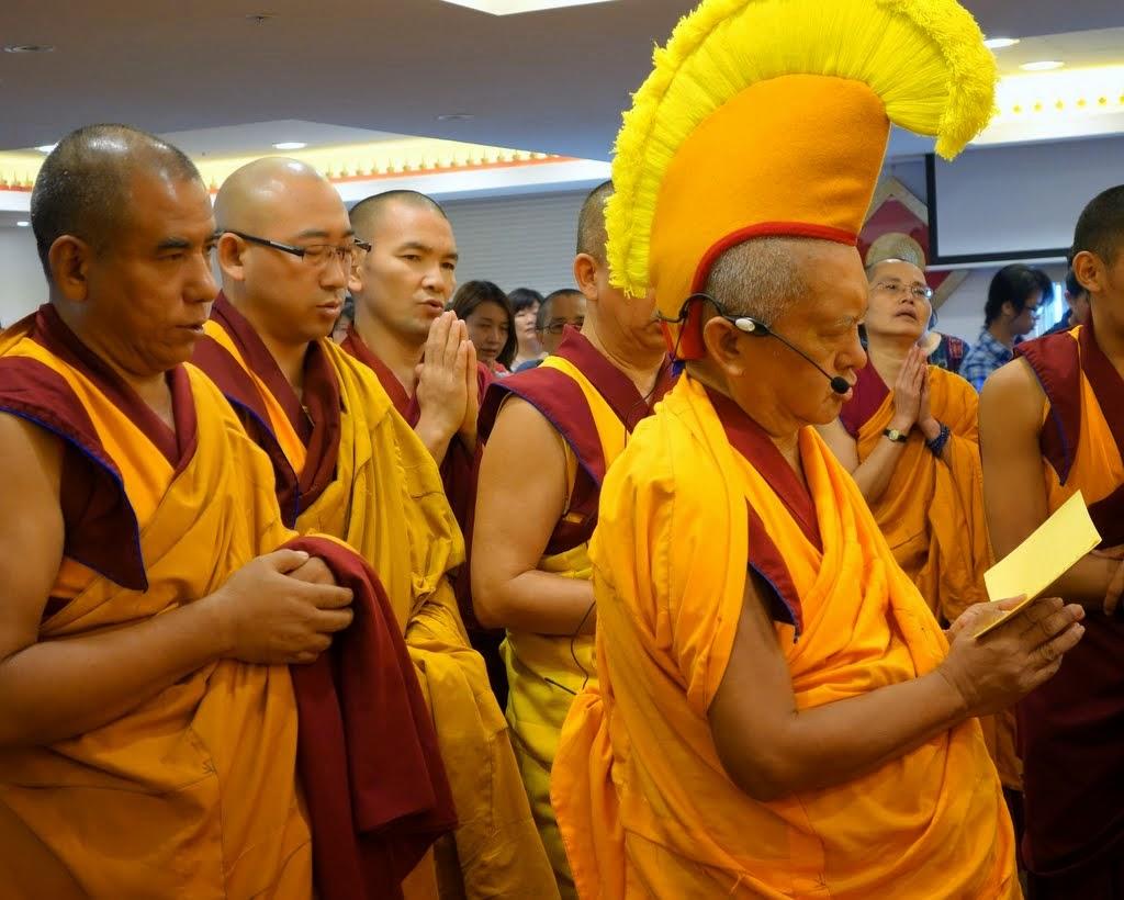 Lama Zopa Rinpoche with Geshe Gyurme, Geshe Gyatso and Geshe Tsetar, the three FPMT resident geshes in Taiwan, Jinsiu Farlin, Taipei, Taiwan, April 2014. Photo by Ven. Roger Kunsang.
