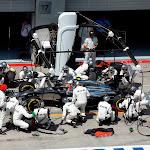 Kevin Magnussen makes a pit stop for McLaren