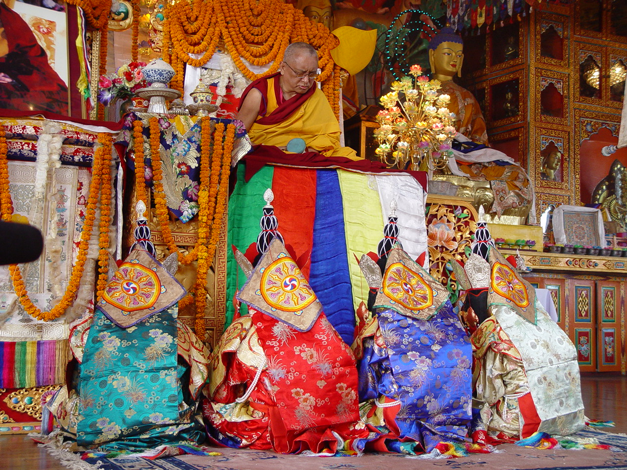Long life puja offered at Kopan Monastery with the 5 dakinis. December 2003.
