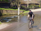 Paul Krebs emerges from the ford near Latchford.