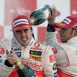 2007 F1 GP Podium Britain with Alonso & Hamilton