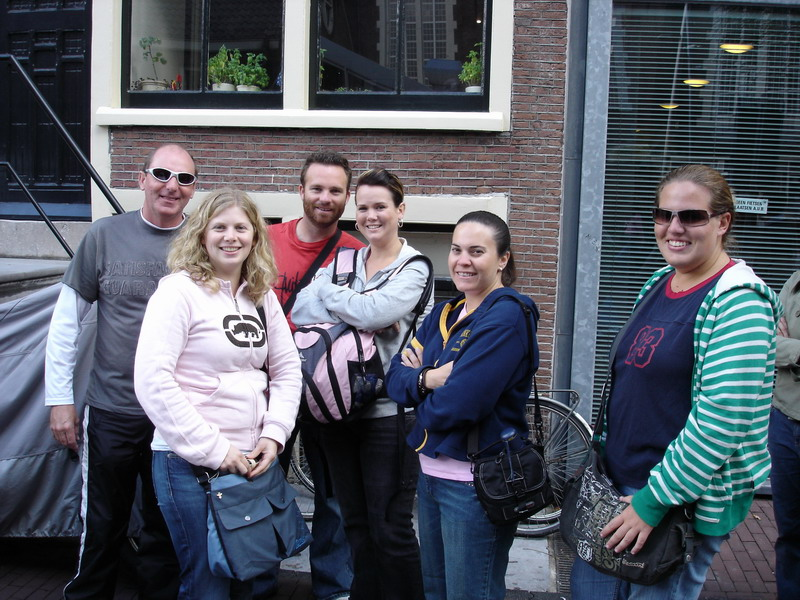 Some of the gang in the queue outside Anne Frank house