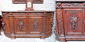 Резной комод с четырьмя дверками  и выдвижными ящиками. 19-й век. 4500 евро.
