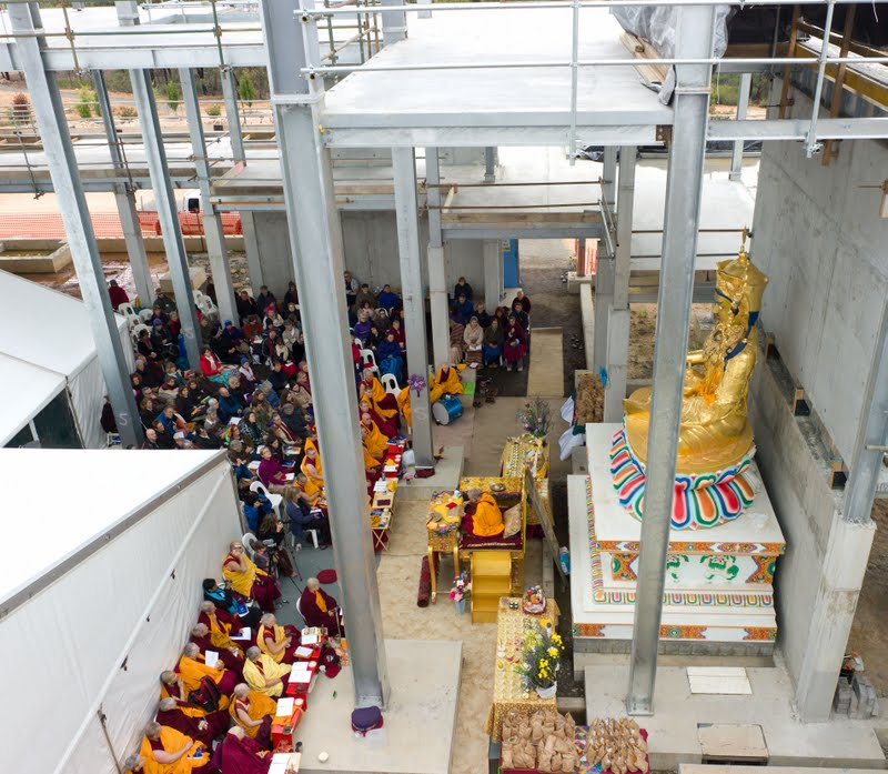 Lama Zopa Rinpoche and Sangha and students doing practice inside the Great Stupa of Universal Compassion  that is being built in Bendigo, VIC Australia, April 2011