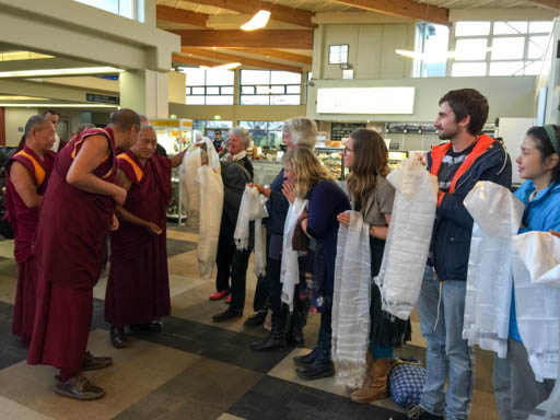 Lama Zopa Rinpoche being greeted by Chandrakirti Centre students, Nelson, New Zealand, May 2015. Photo by Ven. Roger Kunsang.