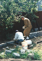 1996 - Working on front of temple retaining wall 2