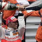 Lewis Hamilton on the podium in Monaco