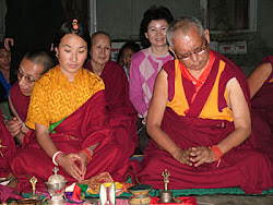 Rinopche and Khandrola doing puja at the Heruka holy place India, March 2005