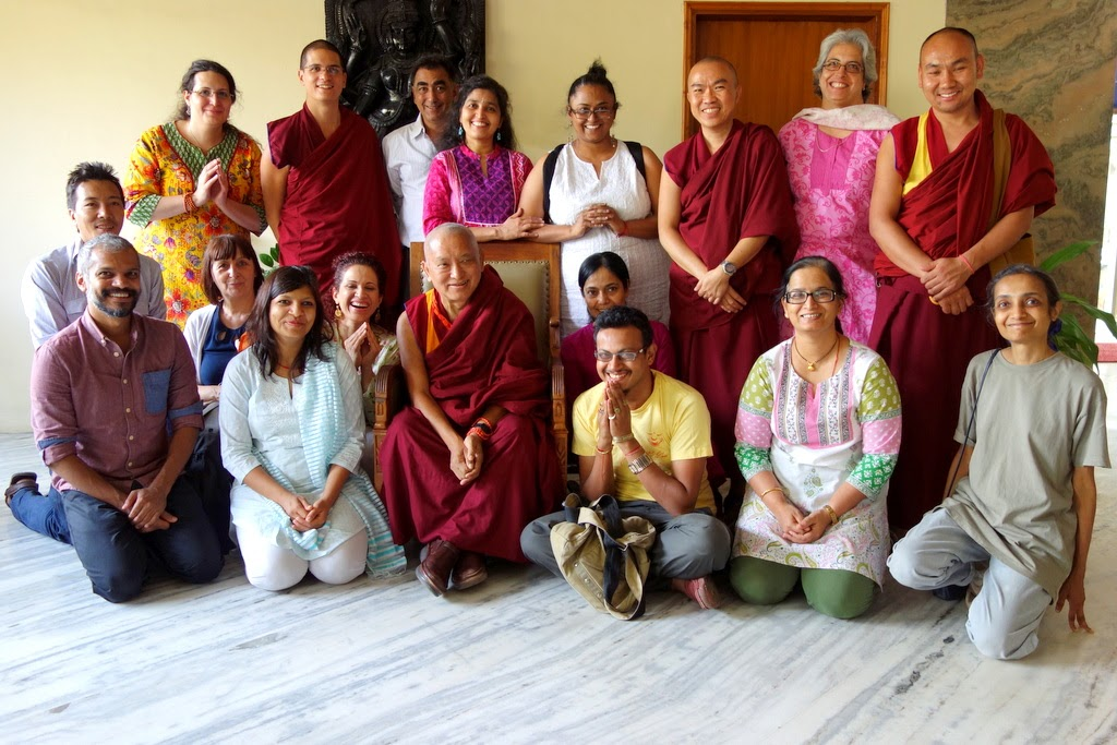 Lama Zopa Rinpoche with some of the key people serving Choe Khor Sum Ling Study Group in Bangalore, India, March 2014. Photo by Ven. Roger Kunsang.