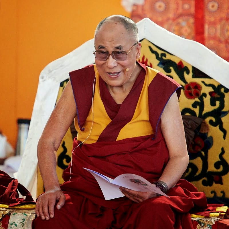 His Holiness the Dalai Lama on the future site of Lhungtok Choekorling Monastery where he blessed the grounds and took part in a formal program, Pomaia, Italy, June 13. Photo by Olivier Adam.