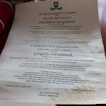 A díszpolgári címet adományozó oklevél