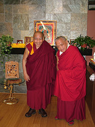 Lama Zopa Rinpoche and Geshe Sopa at the International Office