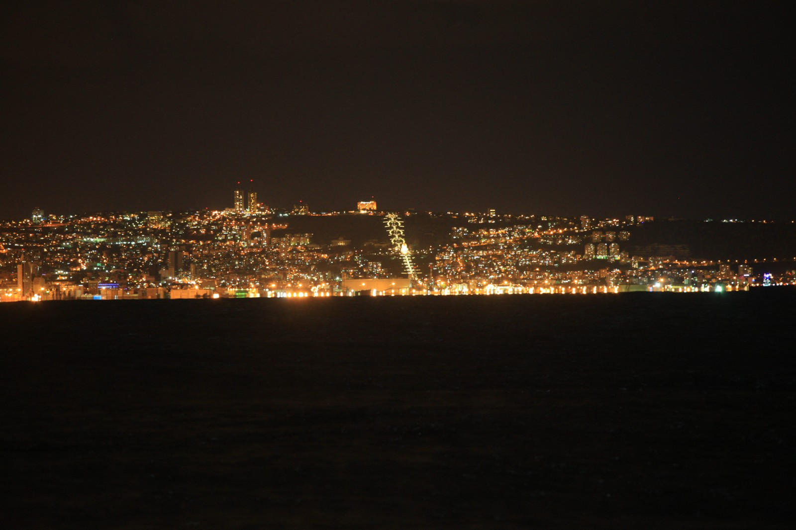 Haifa from across the bay, Bahai gardens in the center
