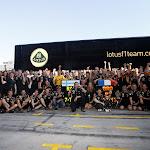 Lotus F1 Team celebrating both drivers on the podium