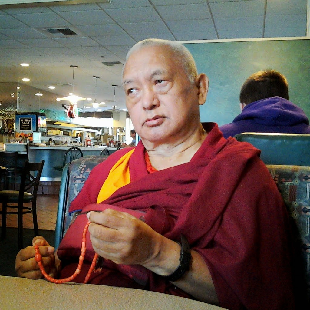 Lama Zopa Rinpoche at a restaurant after arriving in the United States, Washington, US April 2014. Photo by Ven. Thubten Kunsang.