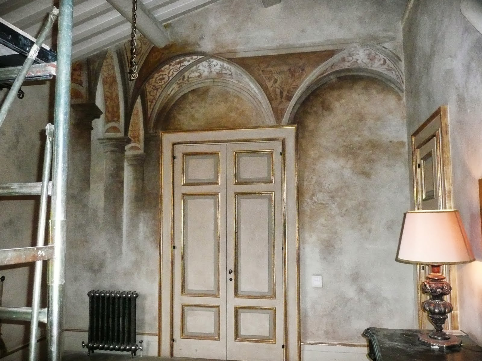 first stage of painting in santo pietro suite
