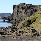 The rocky and semi-green shores of Kleifarvatn lake